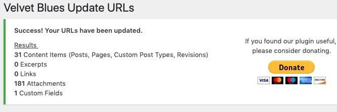 WordPress更换网址 – 傻瓜式一键替换链接插件:Velvet Blues Update URLs
